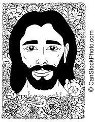 vector, ilustración, zentangl, retrato, de, jesús, en, el, flowers., garabato, drawing., meditativo, exercise., libro colorear, anti, énfasis, para, adults., negro, white.