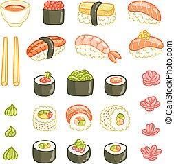 vector, ilustraciones, sushi, rollos, colección