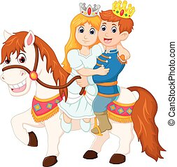 beauty queen and handsome king cartoon ridding horse -...