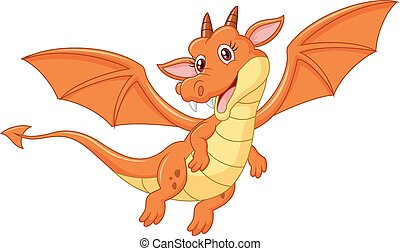 Cartoon cute orange dragon flying