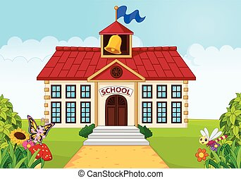 Cartoon school building isolated - Vector ilustration of ...
