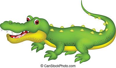 cute crocodile cartoon - vector ilustration of cute...