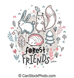 Vector ilustration of cute hand drawn animals