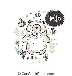 Vector ilustration of cute hand drawn bear in the forest