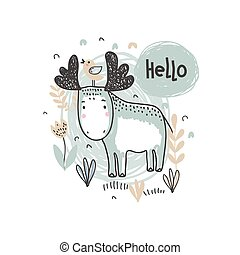 Vector ilustration of cute hand drawn moose in the forest