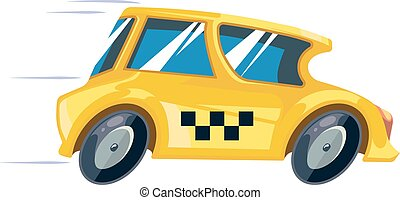 vector ilustration of yellow taxi car