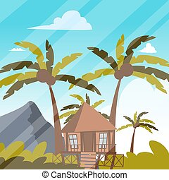 Vector image a bungalow on the shore of a lagoon