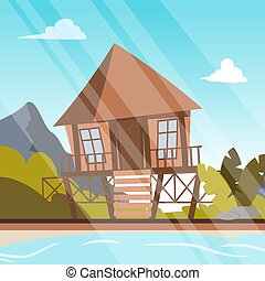 Vector image a bungalow on the shore of a lagoon. Vector...