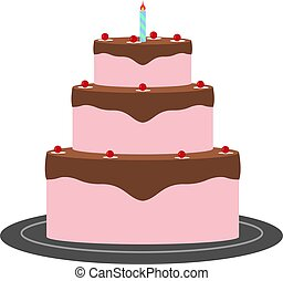 Vector image. A festive cake with one candle