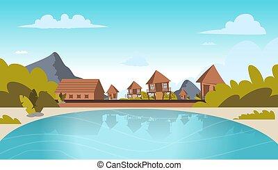 Vector image a village on the shore of a lagoon. Vector...
