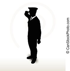 army general silhouette with hand gesture saluting - Vector...