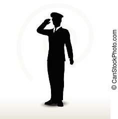army general silhouette with hand gesture saluting - Vector ...