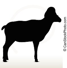 big horn sheep silhouette in standing pose