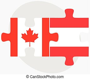 Canada and Austria Flags in puzzle - Vector Image - Canada...