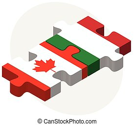 Canada and Italy Flags in puzzle