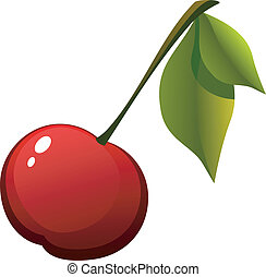 Vector image cherries with leaves