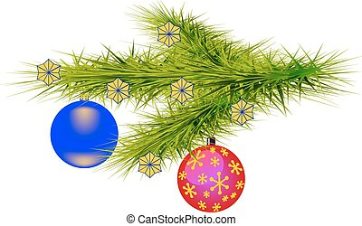 vector image Christmas branch