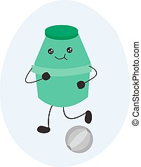 vector image. cute plastic bottle character illustration for fermented milk. green. playing soccer. for symbols, logos, icons, backgrounds, wallpapers, web, pc or android applications, cute clothing p