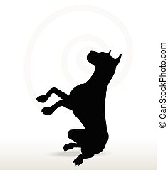 Vector Image - dog silhouette in beg pose isolated on white background