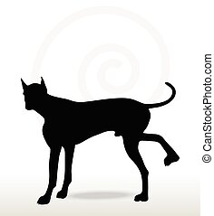 Vector Image - dog silhouette in leg raised pose isolated on white background