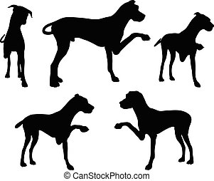 Vector Image - dog silhouette in shake hands pose isolated on white background