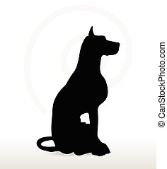 dog silhouette in sitting pose - Vector Image - dog...