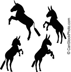 Vector Image, donkey silhouette, in rear pose, isolated on white background