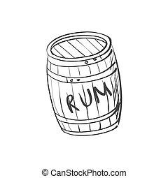 doodle barrel of rum - Vector image doodle barrel of rum,...