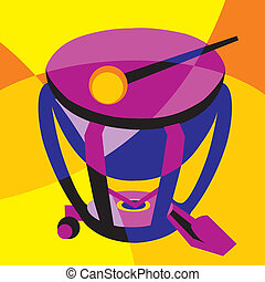 drum - vector image drum. Stylization of color overlapping...
