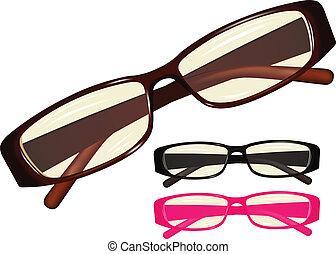 eyeglasses - Vector image eyeglasses, set different colours