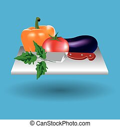 Vector image. Frame of vegetables, a cutting Board, a knife. Colorful set. ECO-organic fresh pattern with vegetables to decorate the menu.