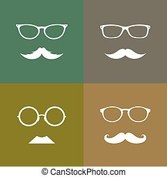 Vector image group of an glasses and mustache
