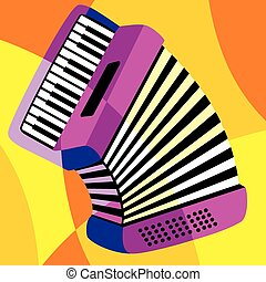 harmonica - vector image harmonica. Stylization of color...