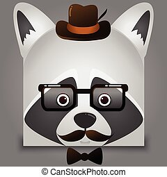 Vector image hipster of a raccoon face square style wearing glasses and hat