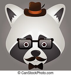 vector image hipster of a raccoon face wearing glasses and hat