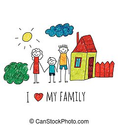 Vector image I love my family