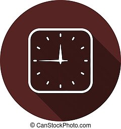 Vector image. Icon outline square watches on round maroon