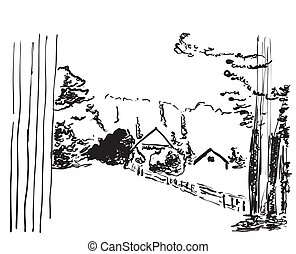 Vector image. Landscape with a house among the hills and...