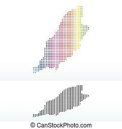 Isle of Man, British Crown dependency with Dot Pattern