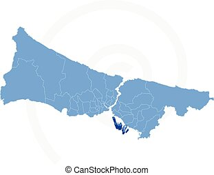 Map of Istanbul with each administrative district where...