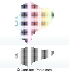 Map of Republic of Ecuador with Dot Pattern - Vector Image -...