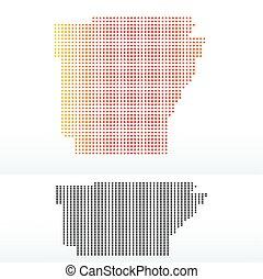 Map of USA Arkansas State with Dot Pattern