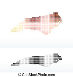 Map of USA North Carolina State with Dot Pattern