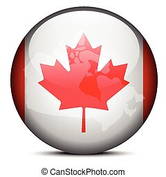 Map on flag button of Canada