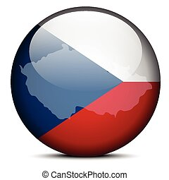 Map on flag button of Czech Republic
