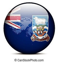 Vector Image - Map on flag button of Falkland Islands (Islas Malvinas)