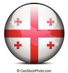 Map on flag button of Georgia