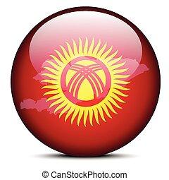 Map on flag button of Kyrgyz Republic