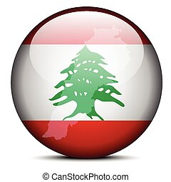 Map on flag button of Lebanese Republic