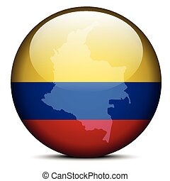 Map on flag button of Republic of Colombia - Vector Image -...